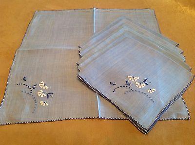 Seven Vintage Dinner Napkins, Light Blue, Flower Embroidery, Dark Blue, White