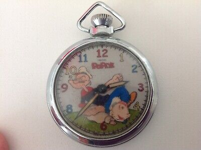 VINTAGE 1960's* POPEYE THE SAILOR MAN *SWEET PEA MOVES ADVERTISING POCKET WATCH