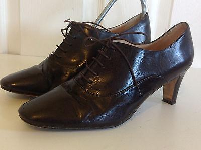 Usado, PACO HERRERO beautiful dark brown ALL LEATHER lace up heeled shoe boots 39 UK 6 segunda mano  Embacar hacia Spain