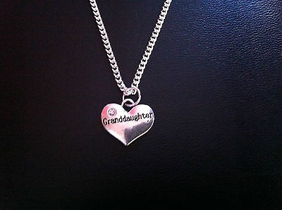 """GRANDDAUGHTER HEART CHARM NECKLACE 18"""" SILVER CHAIN GIFT BAG"""