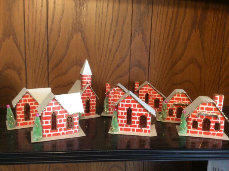 Christmas Red Brick Cardboard Houses Vintage ?