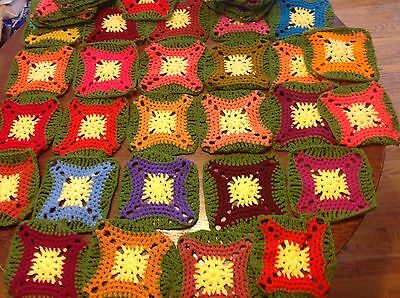 Afghan Crochet Granny Square Blocks 49 Pieces Green & Yellow Multiple colors