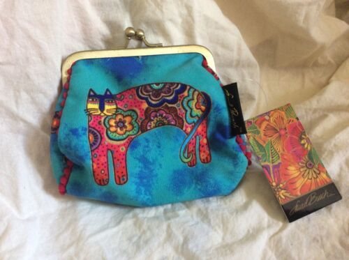 NWT Laurel Burch Cats Feline Mini Small Cosmetic Clutch Pouch Blue Makeup Bag
