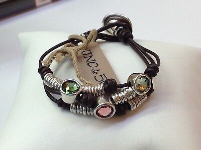 "NWT Uno de 50 Silver-Plated/Leather Bracelet w/ Swarovski Elements ""Berries"""
