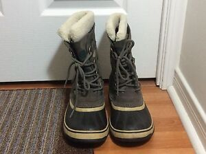 Sorel Waterproof Winter Boots Brown Beige Black Size 8