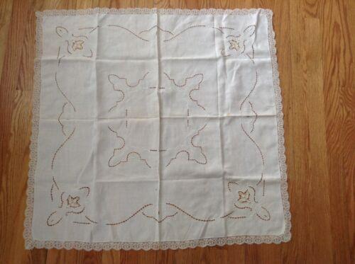 Vintage Antique Table Linen Cloth Center Scarf Cut Work Lace Trim