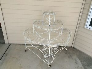 Antique Victorian Covered Wire 3 Tiered Plant Stand