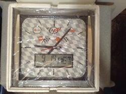 GM Chevy Corvette Flags 16 Wall Clock w/Day/Date/Temp Displays NIB (#IB-L)