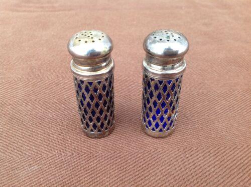 Set of UK Pat No. 2026499 Silver Overlay Blue Glass Salt & Pepper Shakers