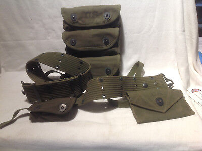 US ARMY WWII ERA (1945) GRENADE CARRIER W/BELT- FIRST AID POUCH SUPPLIES