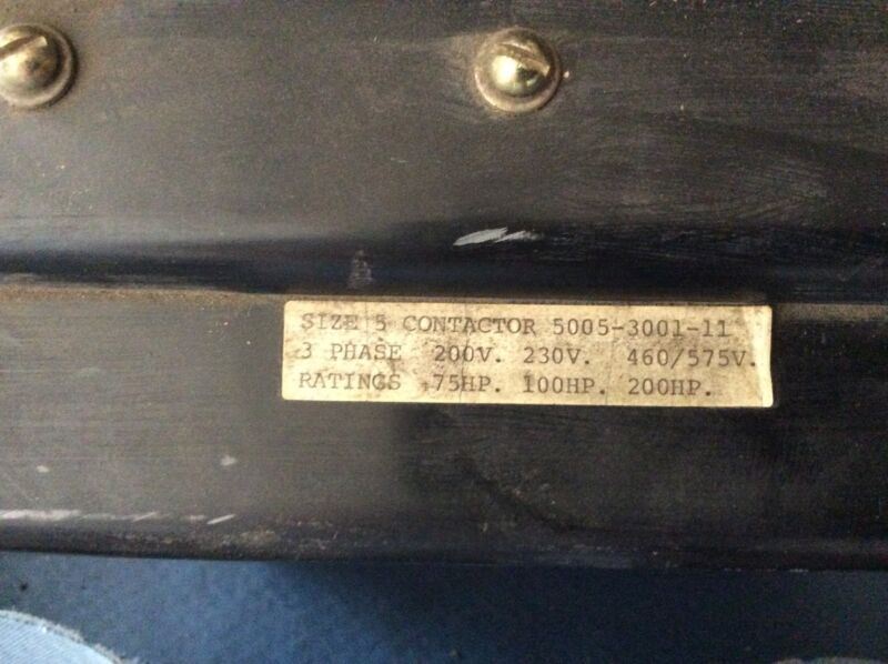 Ward Leonard size-5 contactor, 3ph, 200v-75hp, 230v-100hp, 460/575v-200hp