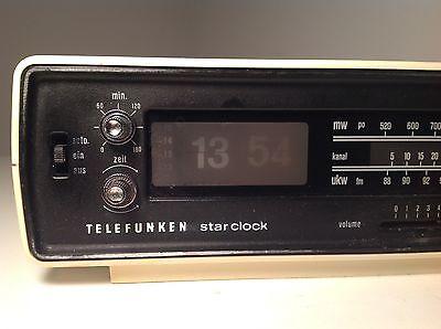 Telefunken Star Clock 101 Klappzahlenwecker Vintage Radiowecker Uhr 70er Weiß