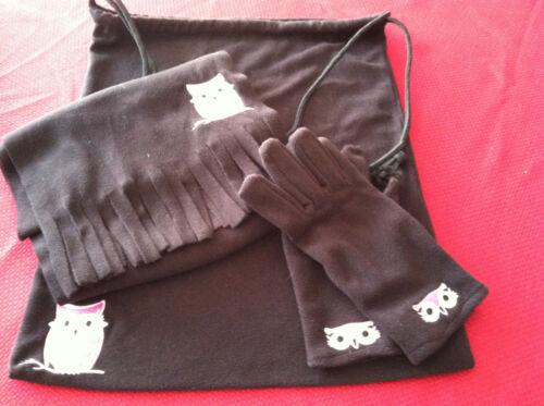 NWOT 3 Piece Fleece Owl Set Black Scarf Gloves Drawstring Bag Pink White