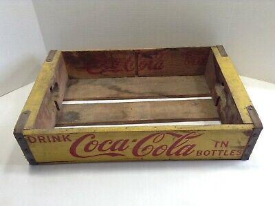 "RARE!! 1961 Chattanooga ""Drink Coca Cola"" Yellow Wooden Coke Crate"