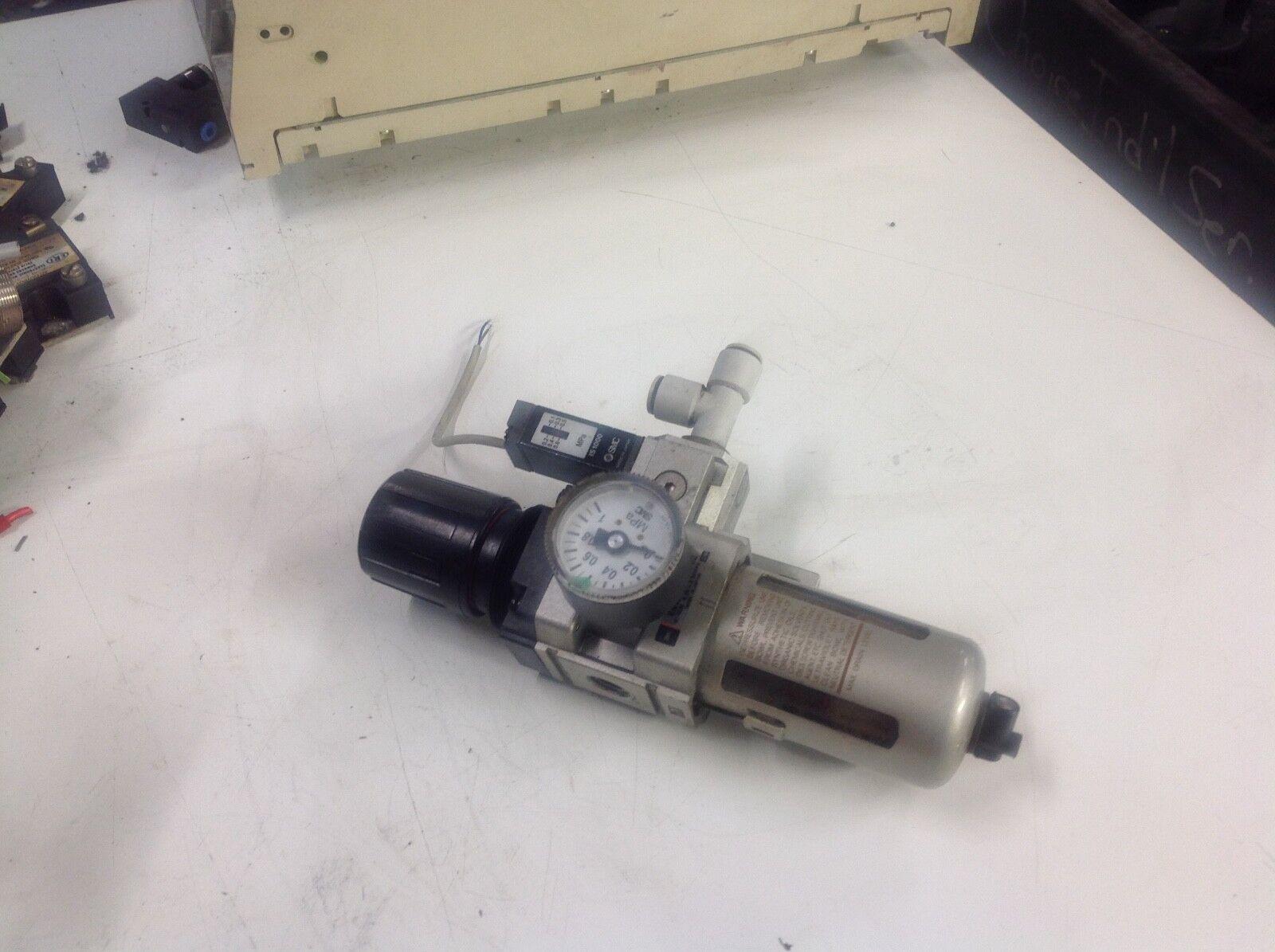 SMC Filter Regulator, EAW3000-F02, w/ Pressure Gage & IS1000 Pressure Switch