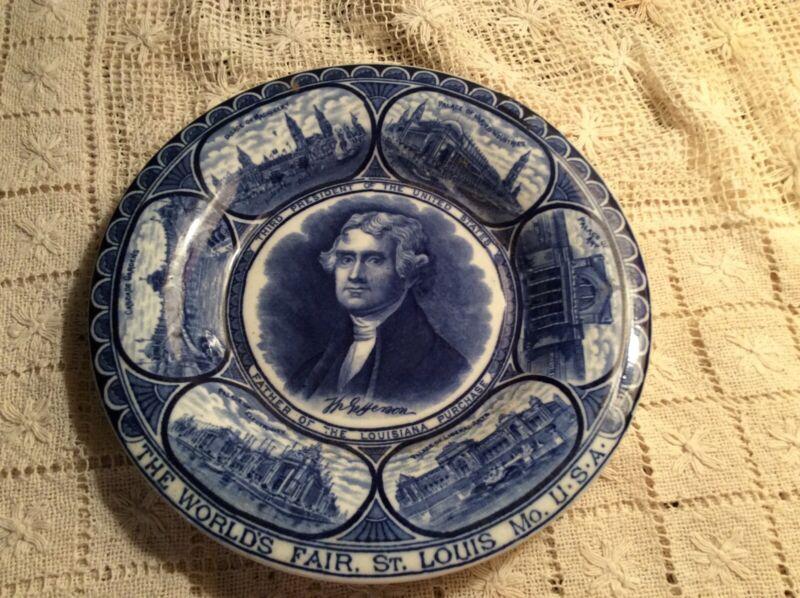 Beautiful Flow blue plate from St Louis Worlds Fair 1904 Thomas Jefferson-VGC