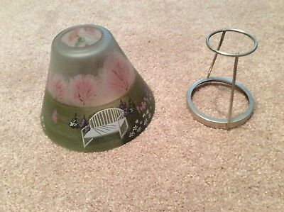 Candle top, for candle jar, new, 2 pieces, frosted glass with park bench, gazebo