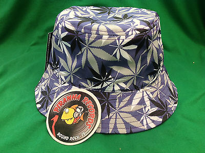 Black/White/Gray Weed Leaf Printed Purple Full-Brim Bucket Hat ONE SIZE Piranha - White Bucket Hats