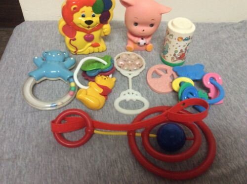 Vintage Baby Rattle & Toys Lot