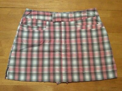 B MOSS Clothing Company Pink Green White Plaid Skirt SKORT Short Stretch size 8](Party Co Costumes)