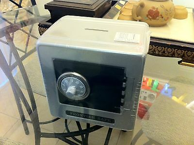 New Style Metal Safe Box Piggy Bank Combination Lock & Coin Slot-Silver & Black