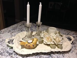 Chalk painted footed tray and decorative pieces