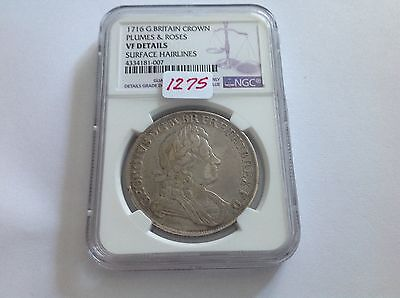 Click now to see the BUY IT NOW Price! 1716 GREAT BRITAIN CROWN PLUMES & ROSES NGC VF DETAILS SURFACE HAIRLINES