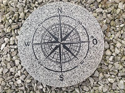 """Trittstein Steinplatte Granit """"Kompass """" Tolle Deko Für Garten"""