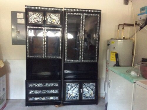 KOREAN LACQUER CABINET , INLAID MOTHER OF PEARL ON BLACK LACQUER no shipping
