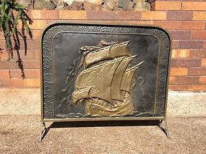 fire screen guard copper brass vintage embossed sailing ship metal Port Macquarie Port Macquarie City Preview