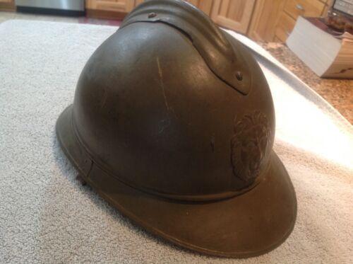 WW1 BELGIAN ADRIAN HELMET LION HEAD W/ LINER M15