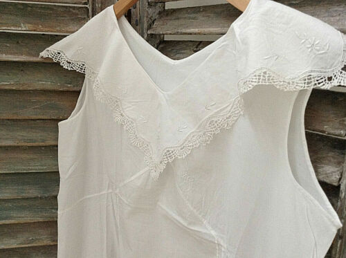 Antique French cotton lace nightgown dressing peasant smock shirt dress Monogram