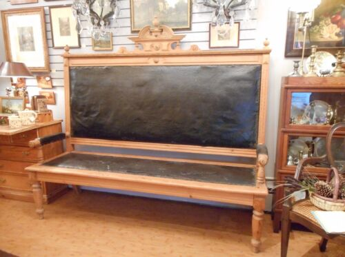 Antique Victorian Carved Pine Wood Bench Danish RR Station FREE LOCAL DELIVERY