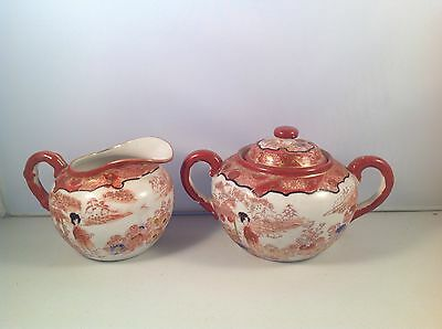Vintage Japanese China Creamer And Sugar Bowl Fukagawa Geisha Stream 1920s+