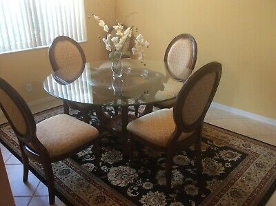 DINING ROOM SET 6 CHAIRS, GLASS TABLE, PEDESTAL