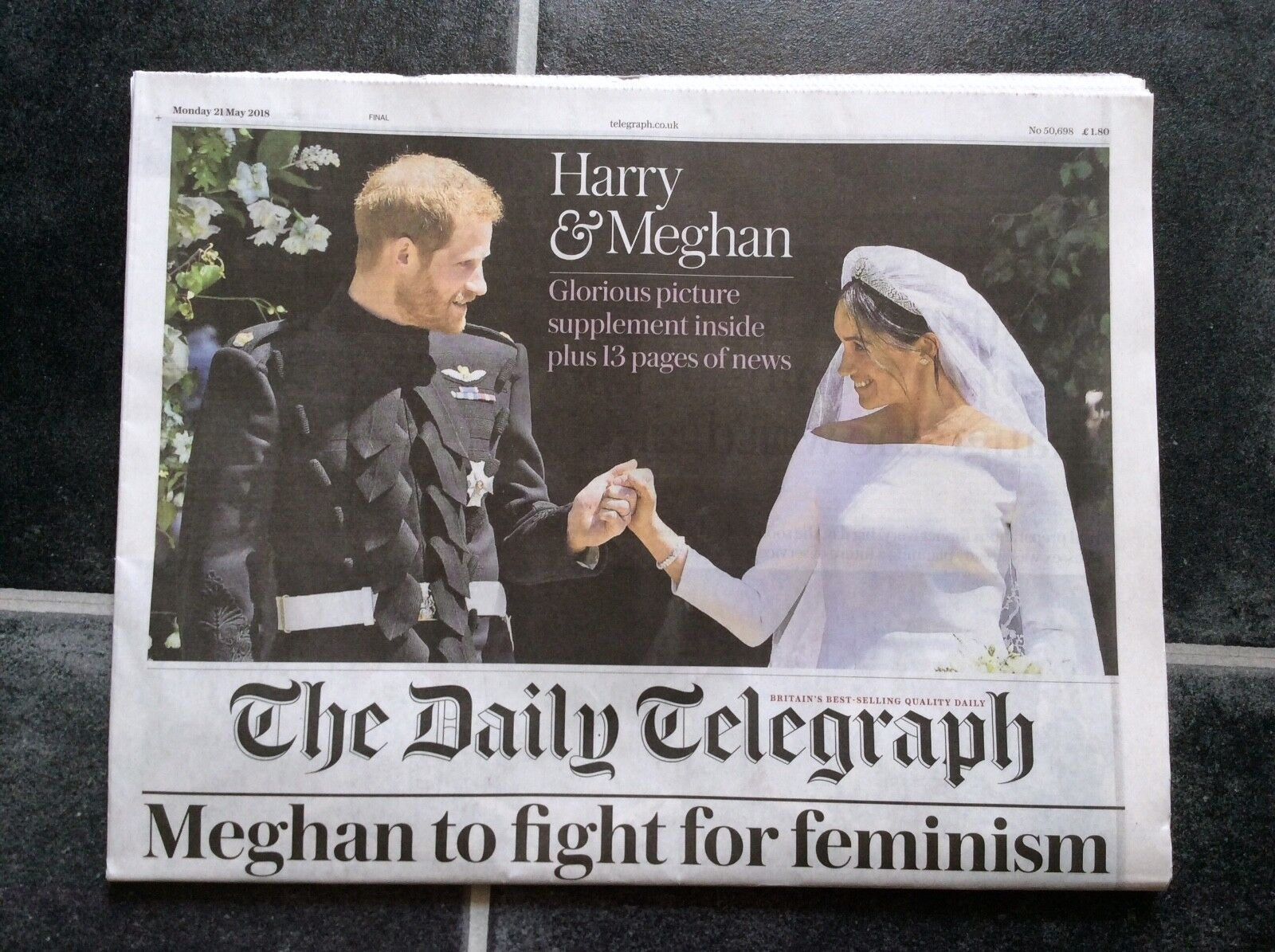 HARRY and MEGHAN ROYAL WEDDING Colour Souvenir Pullout DAILY TELEGRAPH Newspaper