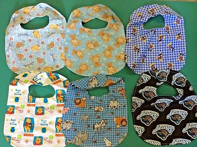 HANDMADE BABY BIBS WITH VELCRO CLOSING-  6 IN A SET--  SET 4