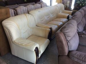 Leather Lounge Suite 1x3 2x1 Wangara Wanneroo Area Preview