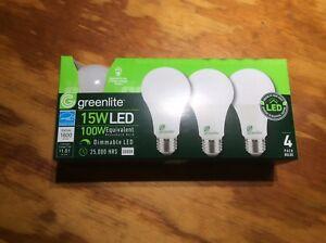 4 Pack 15w Greelite LED 100 Watt Equivalent A type Light Bulb - Dimmable