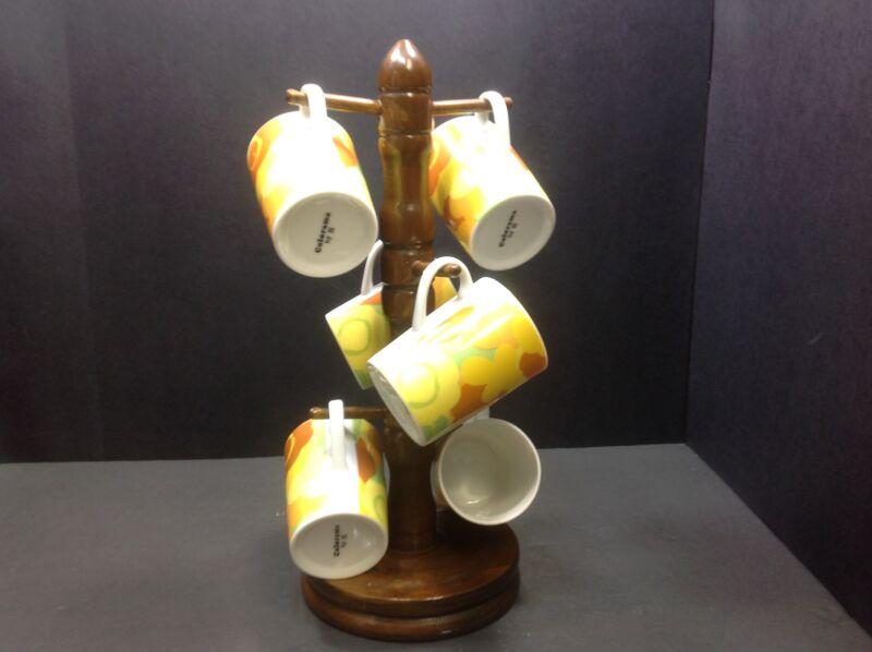 Vintage Colorama Retro 8 OZ Coffee Mugs, Set of (6)