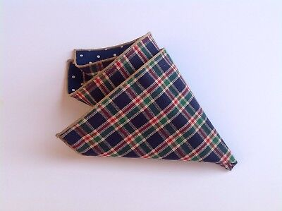 NEW Pocket Square Navy Red Tan Plaid Polka Dots Reversible Gift Cotton Trim