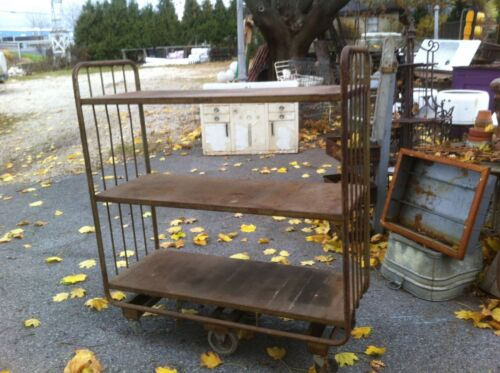 Vintage Industrial Steam Punk Cart/ Hotel/Airlines/train, carry luggage Shelf