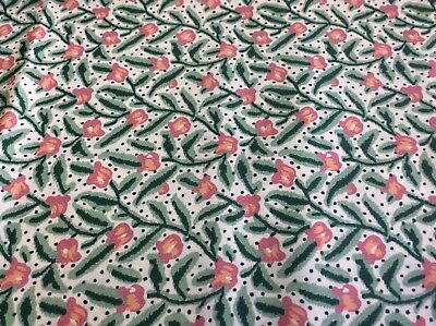 PINK FLORAL ON GREEN STEMS-COTTON- 45