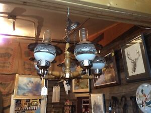 Five arm wood and copper rustic chandelier