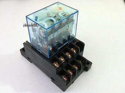 Hh64p-l Ac220v 10a Coil 14-pin 4pdt 4 Pole Electromagnetic Power Relay With Base