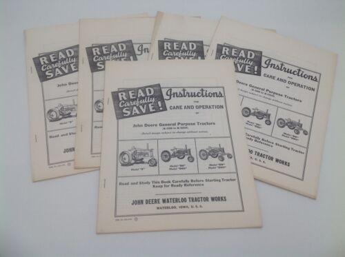 John Deere Model B BN BNH BW BWH Tractor Operations Manual Vintage 1958