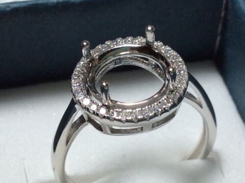 Setting White Gold over  Sterling Silver  9- 10mm round stone