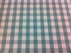 LUXURY THICK 100%  COTTON COLOUR WOVEN, Duck Egg, LARGE GINGHAM FABRIC