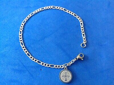 Medal Jewelry - St BENEDICT Saint Medal BRACELET Figaro Stainless Steel Protection 7.5