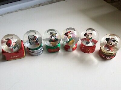 LOT 6-Disney JC Penney Mickey Mouse Collectible Christmas snow globes, 2003-2008